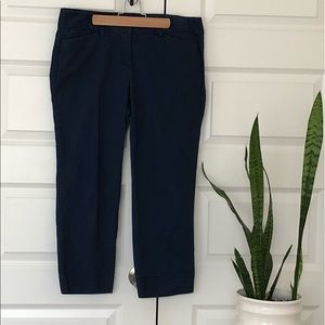 LOFT Marisa Crop Pants Navy Blue Sz 8
